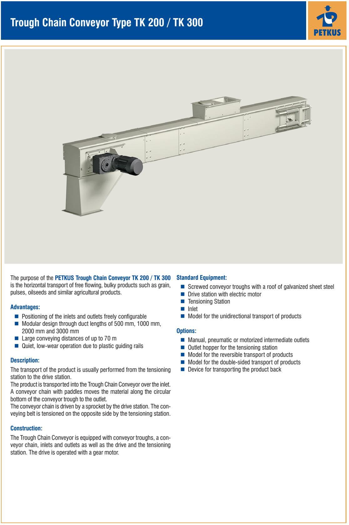 Conveying equipment: Trough Chain Conveyor TK 200 / ТК 300